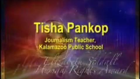 Thumbnail for entry Tisha Pankop, MEA Human Rights 2008 Elizabeth Siddall Award winner