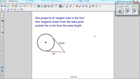 Thumbnail for entry Special Segments in Circles, tangents drawn from the same point outside the circle have the same length. Use this fact to find x