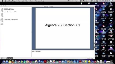 Thumbnail for entry Algebra 2B Section 7.1 (PART 1)