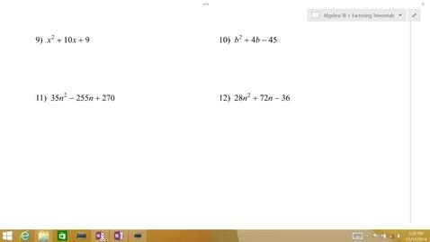 Thumbnail for entry Algebra 1B Lesson 08 #9-10