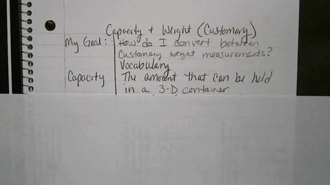 Thumbnail for entry Capacity and Weight in Customary Units