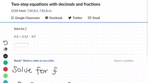 Thumbnail for entry 2 step equations with decimals
