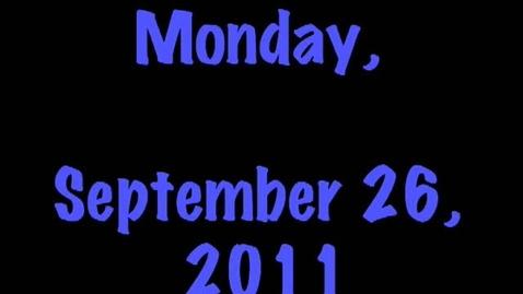Thumbnail for entry Monday, September 26, 2011