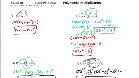Thumbnail for entry Algebra 1B Lesson 02 #13, 22 Polynomial Multiplication