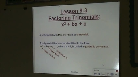 Thumbnail for entry Alg Lesson 9-3A Intro to Factoring Trinomials