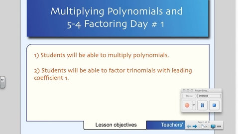 Thumbnail for entry 5-4 Factoring Polynomials (Day # 1)