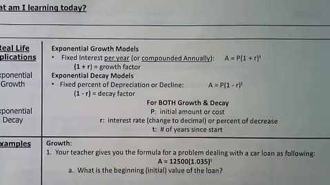 Thumbnail for entry Guided Notes - Applications Exponential Growth_Decay