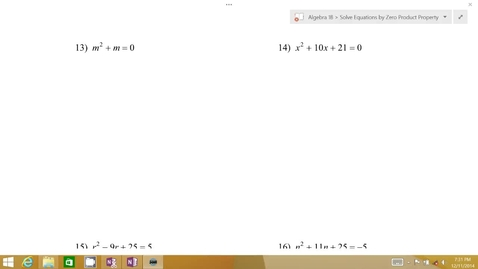 Thumbnail for entry Algebra 1B Lesson 07 #13-14