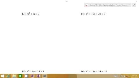 Thumbnail for entry Algebra 1B Lesson 07 #13-14