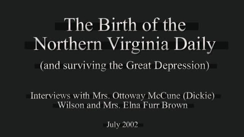 Thumbnail for entry Birth of the Northern Virginia Daily