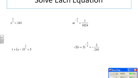 Thumbnail for entry Solve exponent equations