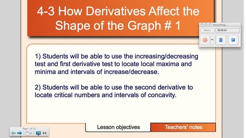 Thumbnail for entry 4-3 How Derivatives Affect the Shape of the Graph
