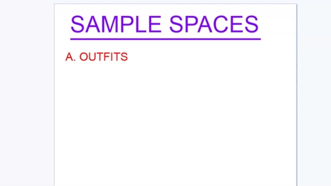 Thumbnail for entry Sample Spaces