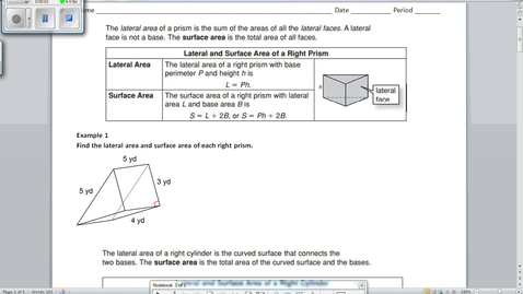 Thumbnail for entry 10.4 Notes Surface Area of Prisms and Cylinders