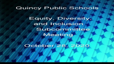 Thumbnail for entry Equity, Diversity, Inclusion Subcommittee October 28,2020