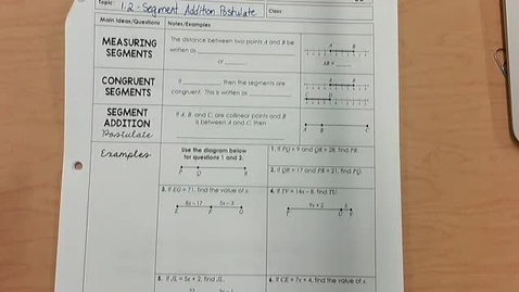 Thumbnail for entry Segment Addition Postulate Notes