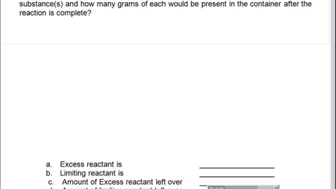 Thumbnail for entry Stephens Pre-AP Chemistry: (11-1-13) Limiting Reactant and #77 from book