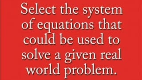 Thumbnail for entry System of Equations