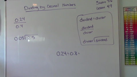 Thumbnail for entry Saxon 7/6 - Lesson 49 - Dividing by Decimal Number