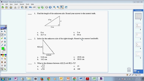 Thumbnail for entry Module 8 Pythagorean Theorem Test Review