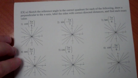 Thumbnail for entry Precalculus notes 4.2 part 4 (circular functions and special angles)