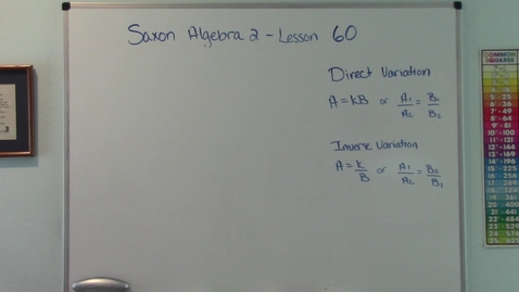 Thumbnail for entry Saxon Algebra 2 - Lesson 60 - Direct and Inverse Variation