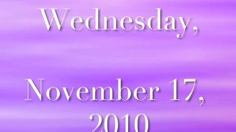 Thumbnail for entry Wednesday, November 17, 2010