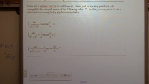 Thumbnail for entry Calculus Section 5-7 Integrals of Inverse Trig Functions