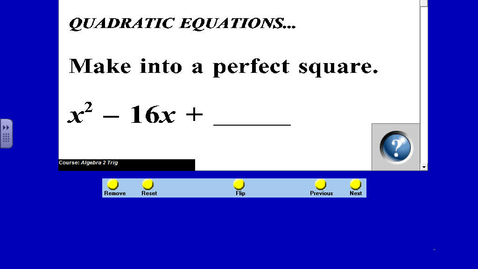 Thumbnail for entry ALG Oct 26 Tues 3 - 13 Notes Reflecting Parabolas