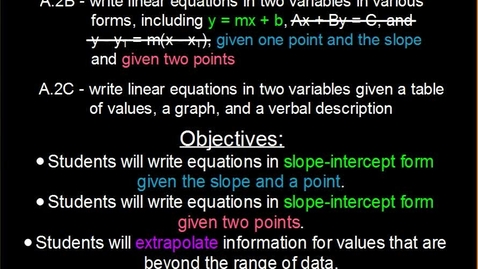 Thumbnail for entry 4.2 - Writing Equations in Slope-Intercept Form (Day 2)