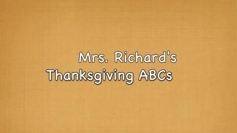 Thumbnail for entry Mrs. Richard's Thanksgiving ABCs