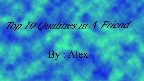 Thumbnail for entry Alex's Human Qualities - Beg Broadcast 2017/2018