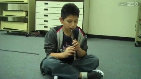 "Thumbnail for entry Martin M. playing ""That's the Ticket"" on the recorder, 2011, Mrs. Hendrix class"