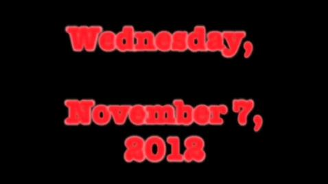 Thumbnail for entry Wednesday, November 7, 2012