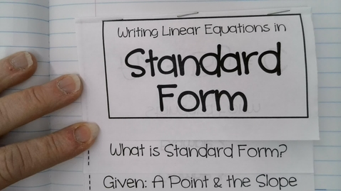 Thumbnail for entry Standard Form of Linear Equations