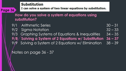 Thumbnail for entry VIDEO 1.6 Linear Systems Day 1 Substitution System of 2