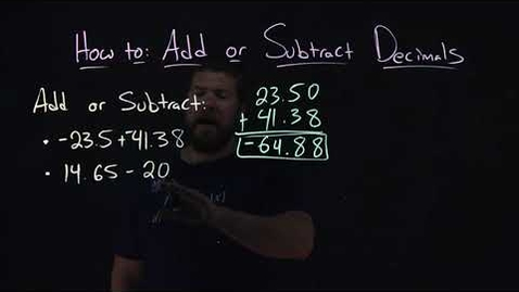 Thumbnail for entry How to Add or Subtract Decimals | Two Examples | Minute Math