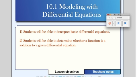 Thumbnail for entry 10-1 Modeling with Differential Equations