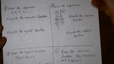 Thumbnail for entry arithmetic sequences and functions
