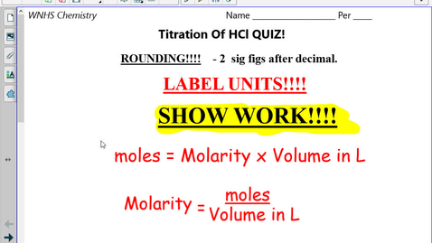 Thumbnail for entry Honors Do you understand Molarity