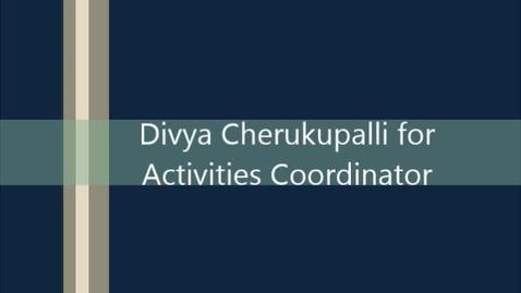 Thumbnail for entry ASB Activities Coordinator Divya Cherukupalli