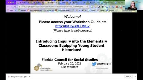 Thumbnail for entry FCSS Spring Virtual Conference Session: Introducing Inquiry in the Elementary Classroom: Equipping Young Student Historians!