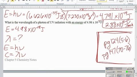 Thumbnail for entry Stephens Pre-AP Chemistry: (10-20-14/10-21-14) 5.2 lesson and atomic emission spectrum