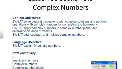 Thumbnail for entry Complex Numbers