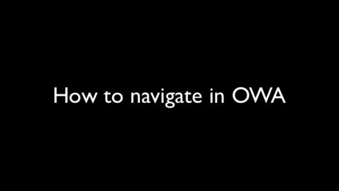 Thumbnail for entry CASD O365- Navigate OWA