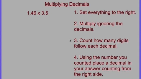 Thumbnail for entry Multiplying Decimals Example