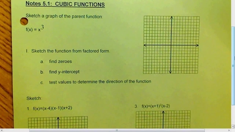 Thumbnail for entry 5.1 Cubic Functions Part 1