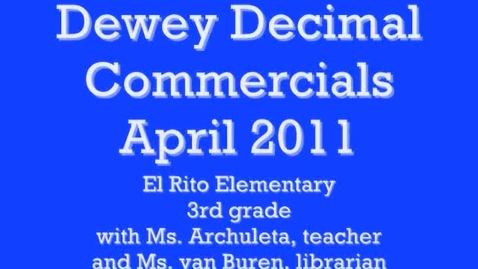 Thumbnail for entry 900s, a Dewey Decimal Commercial