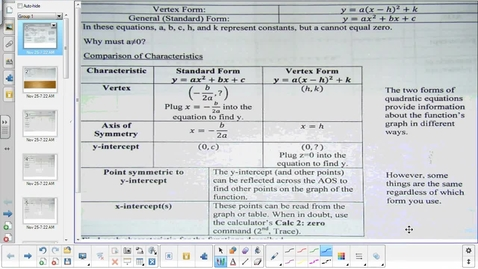 Thumbnail for entry Characteristics of Quadratic Functions lesson pt 1    11-25-14