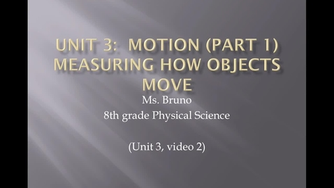 "Thumbnail for entry Unit 3 Motion, Video 2 ""Speed vs. Velocity"""